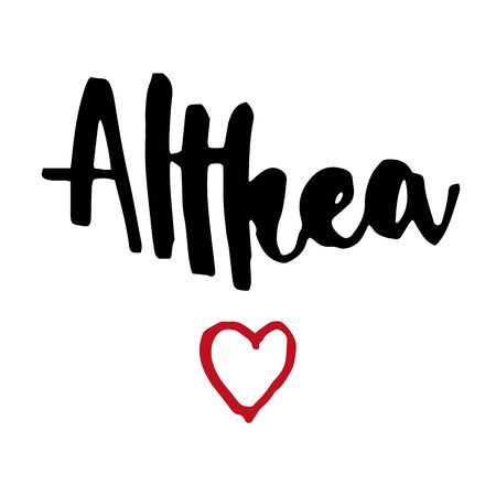 Female name Althea. Hand drawn vector girl name. Drawn by brush words for poster, textile, card, banner, marketing, billboard.