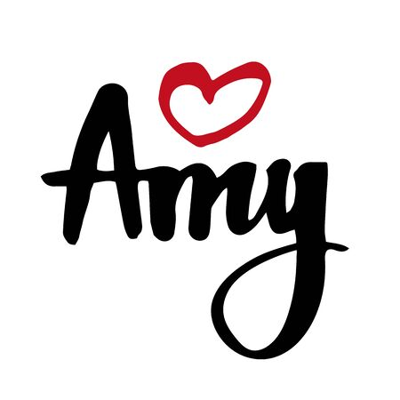 Female name Amy. Hand drawn vector girl name. Drawn by brush words for poster, textile, card, banner, marketing, billboard. Vettoriali