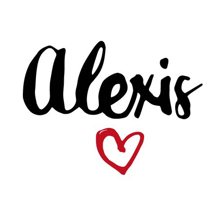 Female name Alexis. Hand drawn vector girl name. Drawn by brush words for poster, textile, card, banner, marketing, billboard. Vettoriali