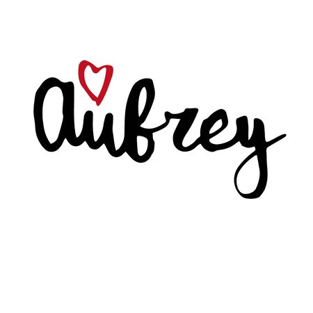 Female name Aubrey. Hand drawn vector girl name. Drawn by brush words for poster, textile, card, banner, marketing, billboard.