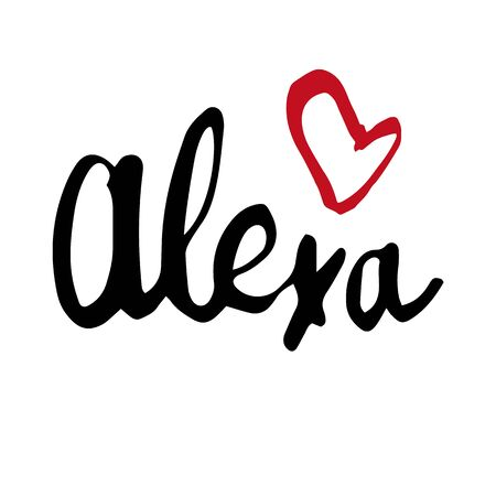 Female name Alexa. Hand drawn vector girl name. Drawn by brush words for poster, textile, card, banner, marketing, billboard.