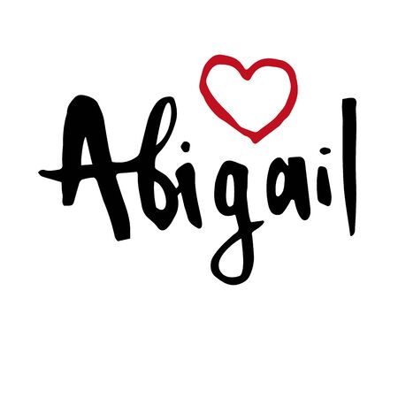 Female name Abigail. Hand drawn vector girl name. Drawn by brush words for poster, textile, card, banner, marketing, billboard. Vettoriali