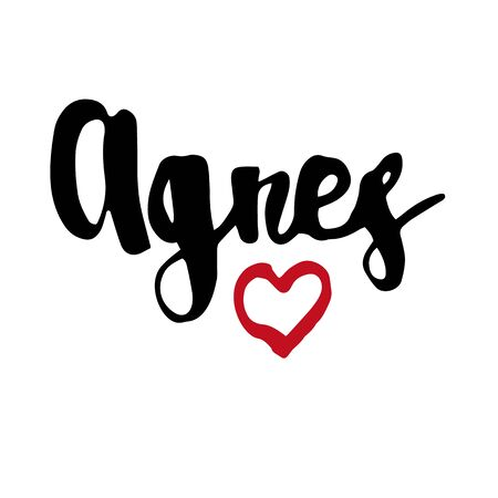Female name Agnes. Hand drawn vector girl name. Drawn by brush words for poster, textile, card, banner, marketing, billboard.