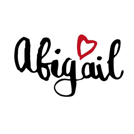 Female name Abigail. Hand drawn vector girl name. Drawn by brush words for poster, textile, card, banner, marketing, billboard.  イラスト・ベクター素材