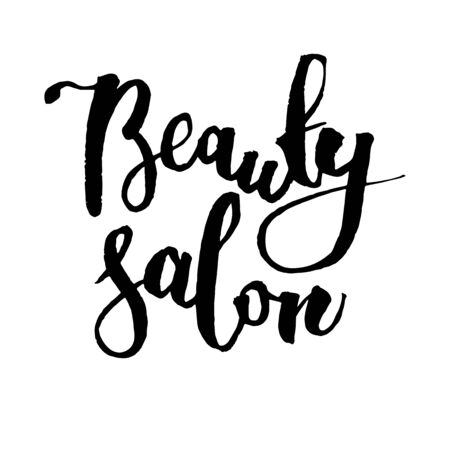 Handwritten vector word Beauty Salon . Calligraphic brush modern lettering. Isolated on white background. Overlay text for logo, poster, banner, invitation, blog, billboard.
