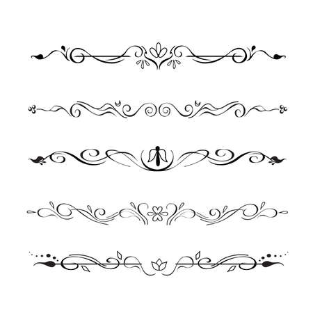 Collection of hand drawn text dividers, vignettes. Elegant oriental, victorian style separators, paragraphs, page decor, for creating frames. Ornate floral design elements for prints, websites
