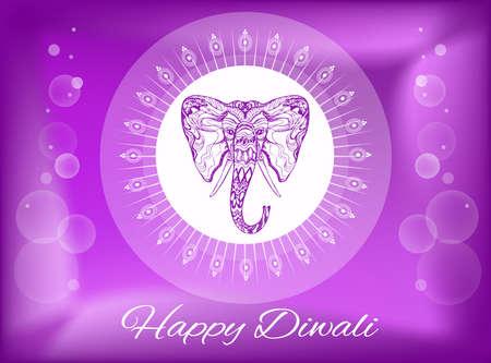 Happy Diwali, Deepawali Hindu festival of Light greeting, tattoo style  ornamental elephant face Ganesh, white ethnic henna mandala of diya lamps and rays, on shiny purple gradient background