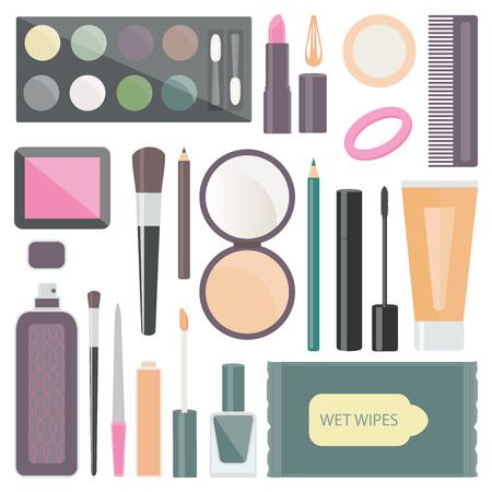 nail file: decorative cosmetics is eye shadow, mascara, puff, lipstick, comb, blush, brushes, pencils for eyebrows and eyes, perfume, powder, concealer, hair band, hairpin, nail Polish, lip gloss, nail file.
