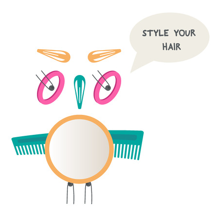 hair do: Owl made of hair accessories. Do yourself hairstyle. Mirror, hair pins, hairbrush.