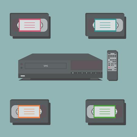 videocassette: reproductor de vídeo con control remoto y 4 cintas de vídeo.