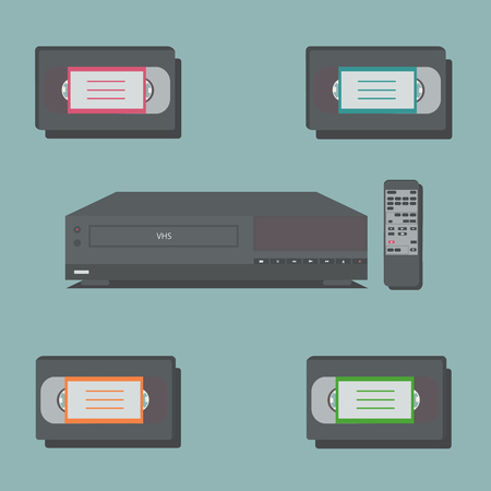 video cassette tape: Video player with remote control and 4 video tapes.