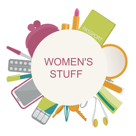 Womens stuff- purse, lipstick, passport, cell phone, key, headphones, mirror, gum, plaster, aspirin. Illustration