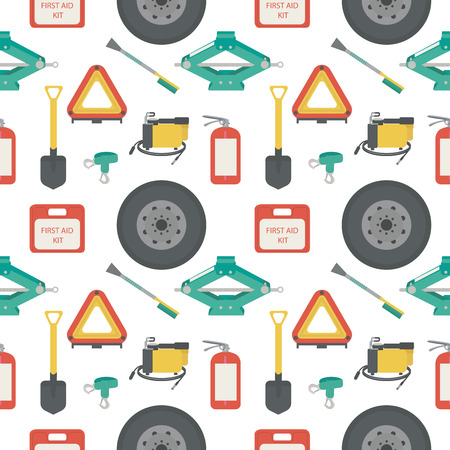 scraper: Seamless pattern with lift jack, tow rope, first aid kit, fire extinguisher, spare wheel, shovel, brush and scraper, warning triangle, car air compressor. Illustration