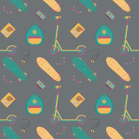 Nahtlose Muster mit Tretroller, Kassettenspieler mit Band, Kopfhörer, Batterien und Kunststoff-Skateboards. Sport und Spaß.