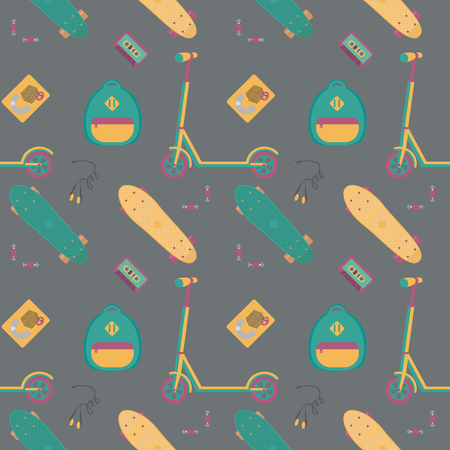 Seamless pattern with push scooter, cassette player with tape, headphones, batteries and plastic skateboards. Sports and fun.