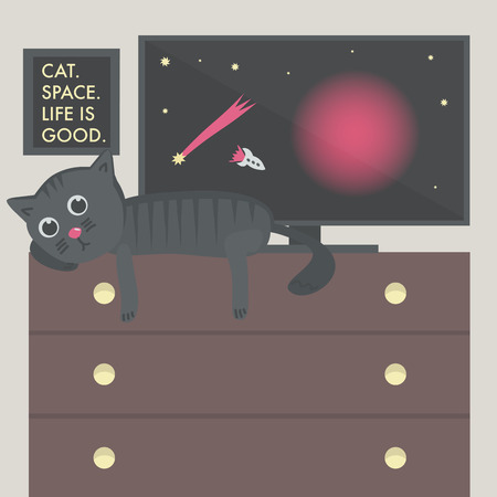 life is good: Cat on the table, space on the TV, the picture with inscription Cat, space, life is good on the wall. Illustration