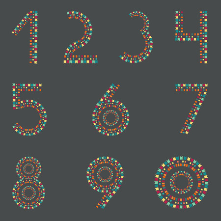 six point: Digits and Party flags. Numbers.
