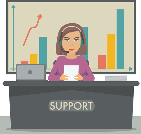 switchboard operator: Girl working in support, call center, secretary at the reception, sales manager.
