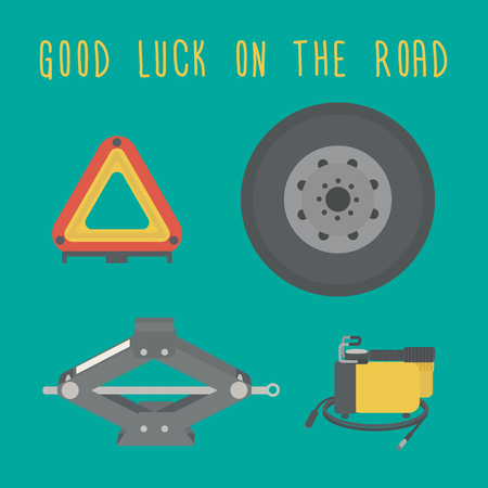 spare: Good luck on the road. A Jack, spare wheel, warning triangle, car air compressor.