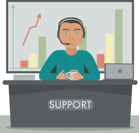 switchboard: Man working in support, call center manager, secretary at the reception.