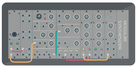 synthesizer: Modular synthesizer with wires. Music electronics.