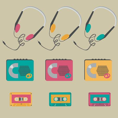 audio cassette: Retro audio cassette players, tapes, headphones Illustration