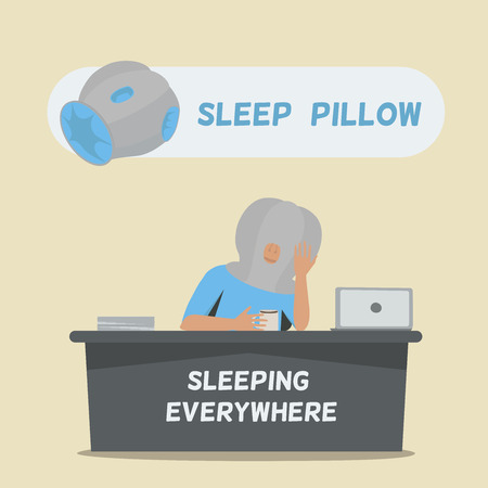 seating: Sleep pillow for sleeping everywhere. Tired businessman is seating.