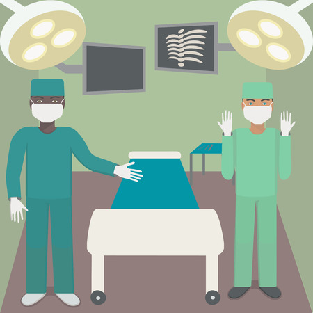 Surgeon in the operating room with a partner. Illustration with shadowless lamps, monitors, couch, surgical instruments and doctors.