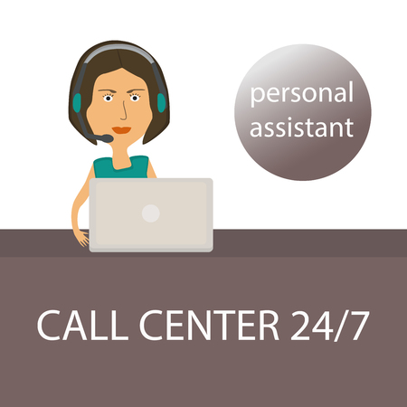 personal assistant: The girl - personal assistant with the laptop and headphones in the call center