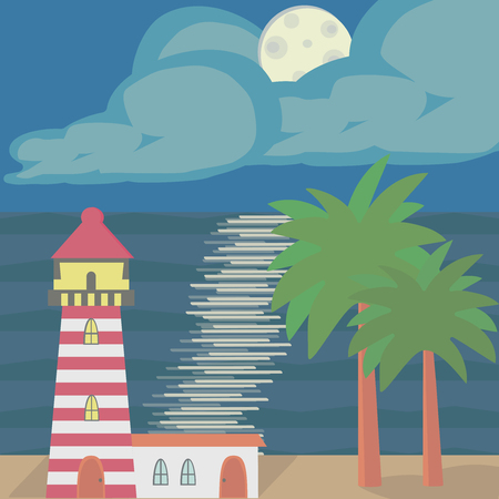 The seascape with a lighthouse, moonlight and palm trees Illustration