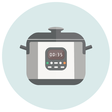 handles: illustration with robotic cooker. Multi cooker with buttons, timer, handles and lid Illustration