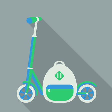 push scooter and a white backpack with a long shadow