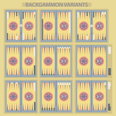 backgammon: Backgammon on the wooden box, board with two dice and chips. Backgammon variants. Illustration