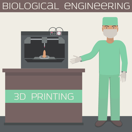 construct: Medical 3D printing for producing a cellular construct, biological engineering, organs. Illustration