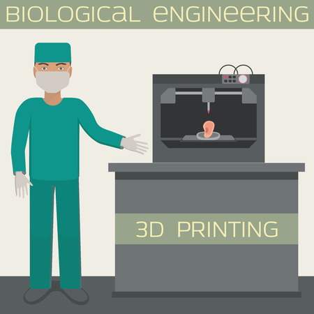 Medical 3D printing for producing a cellular construct, biological engineering, ear.