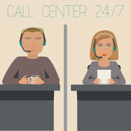 telephone switchboard: A girl and a guy working in support, call center.