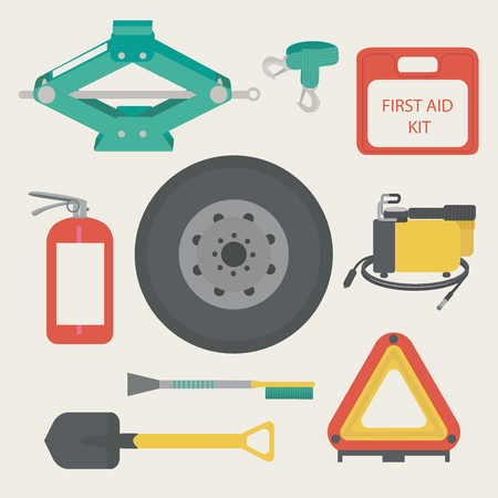 scraper: Tow rope, first aid kit, fire extinguisher, spare wheel, shovel, brush and scraper, warning triangle, car air compressor.
