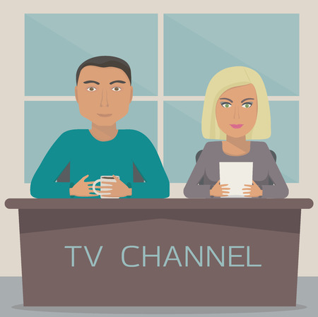 telecaster: A man and a woman are on the telecast in the studio. Image with 2 anchor mans on tv channel. Talk show. Illustration