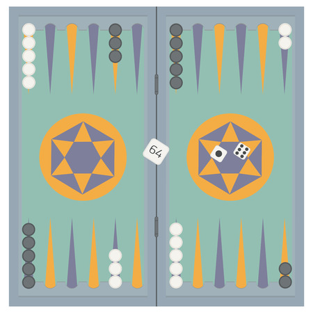 backgammon: Backgammon on the wooden box, three dice and chips.