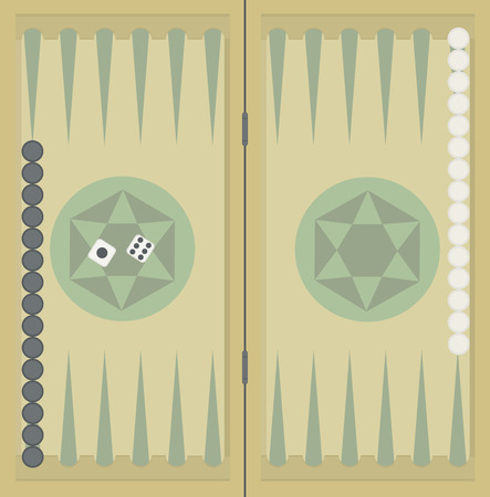 backgammon: Backgammon on the wooden box, two dice and chips.