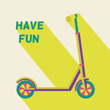 have fun: illustration of scooter with text have fun and colored long shadow. Illustration