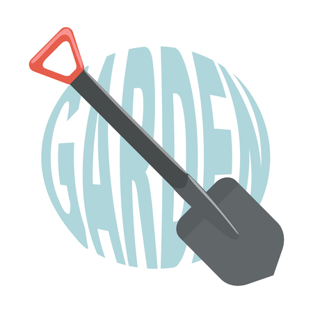 Shovel for garden with text.