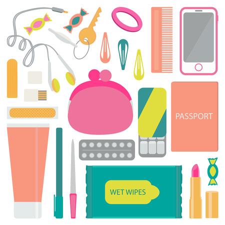 nail file: Headphones, candy, purse, hair scrunchies, hair pins, comb, cell phone, hygiene pad, flash card, adhesive tape, gum, pain reliever, nail file, pen, lipstick, passport, hand cream.
