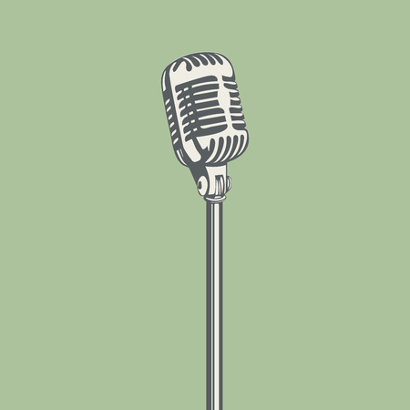 announcing: Metal vintage microphone for stage. Vector illustration.