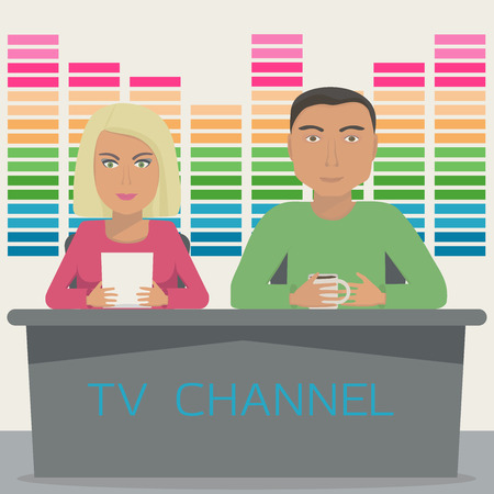 anchorman: A man and a woman are anchors on the telecast in the studio. TV show with 2 anchor mans on tv channel. Vector illustration.