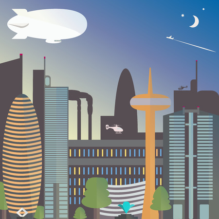 tv tower: Urban landscape with a dirigible. The city night with the moon and stars. Skyscrapers and TV tower with fountain. Vector illustration. Illustration