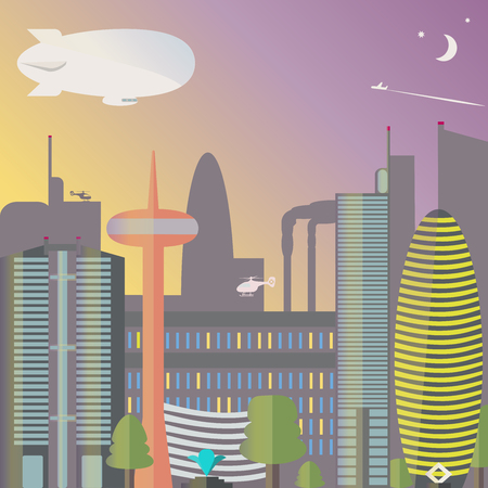 tv tower: Landmark. The city night with the moon and stars. Skyscrapers and TV tower with fountain. Vector illustration.