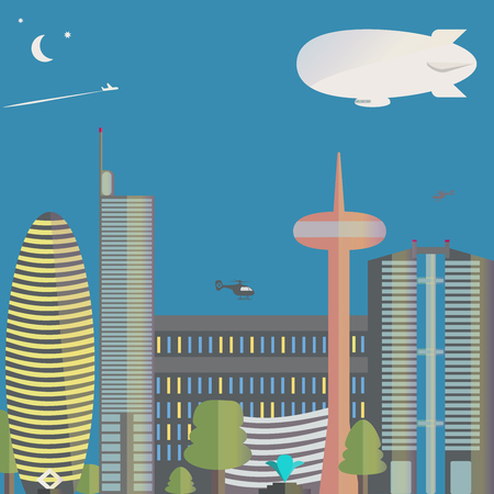 down town: The view of the city. The city with skyscrapers, helicopters. Down town. Vector illustration. Illustration