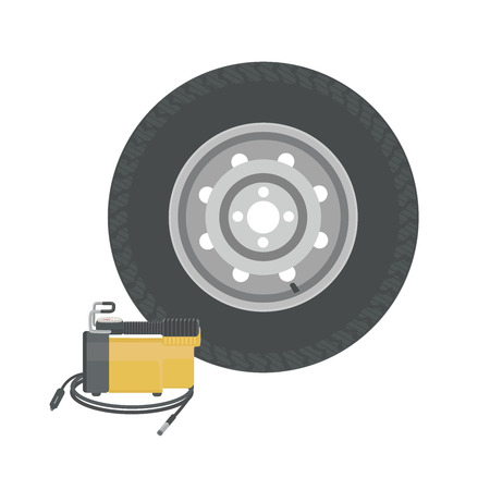 spare: Spare wheel and car compressor. Pump wheels. Vector illustration. Illustration