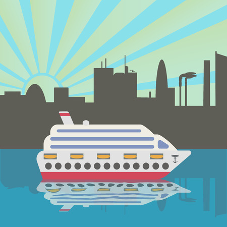 Cruise ship arrives in port. Sunset. City silhouette reflected in the water. Vector illustration.